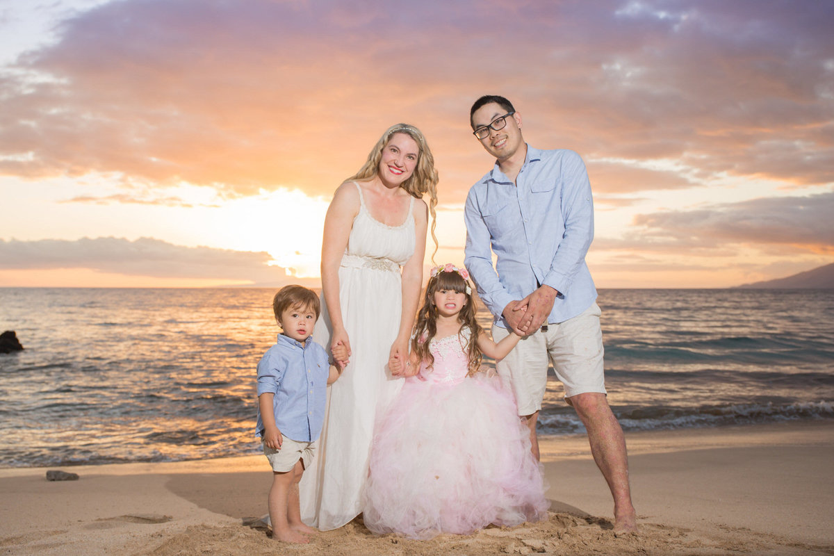 Maui family Portraits at sunset in Hawaii