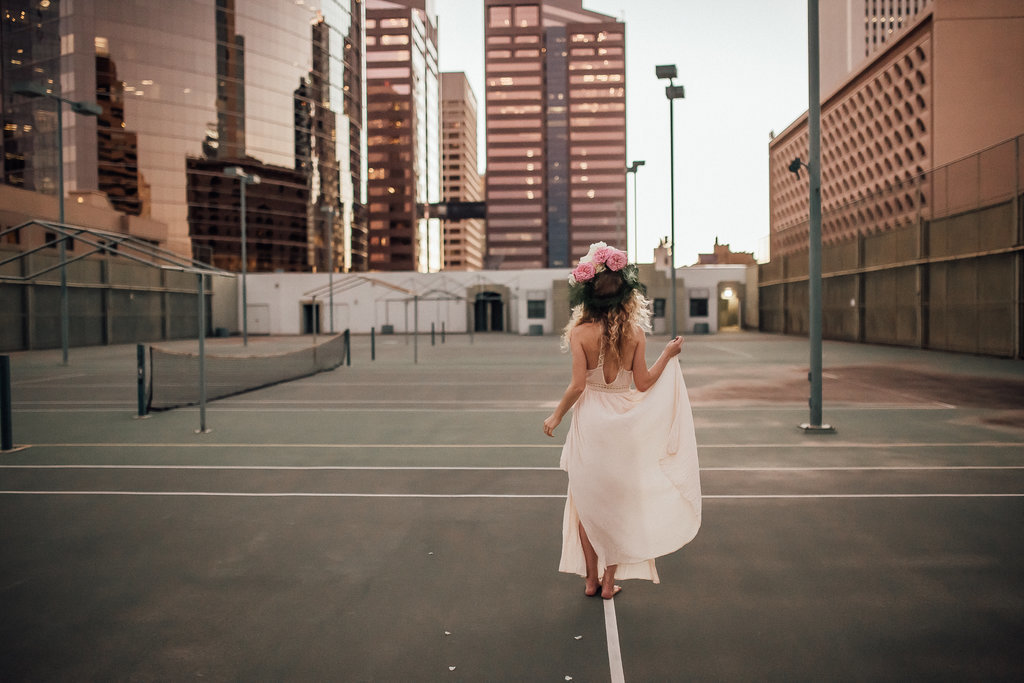 Bridal portrait in downtown Seattle of a Free People Bride