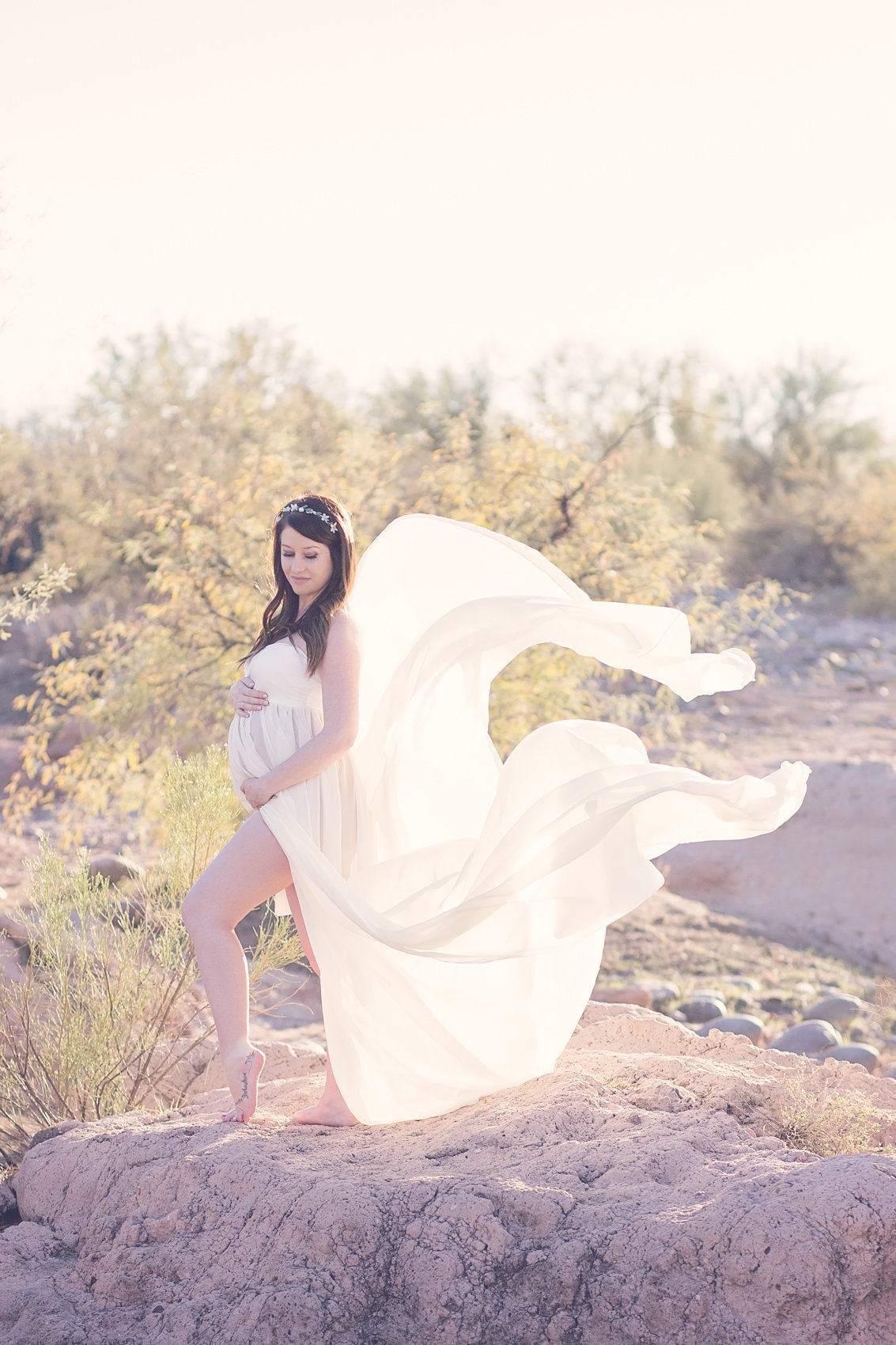 desert maternity session at rio verde river, arizona by plume designs and photography