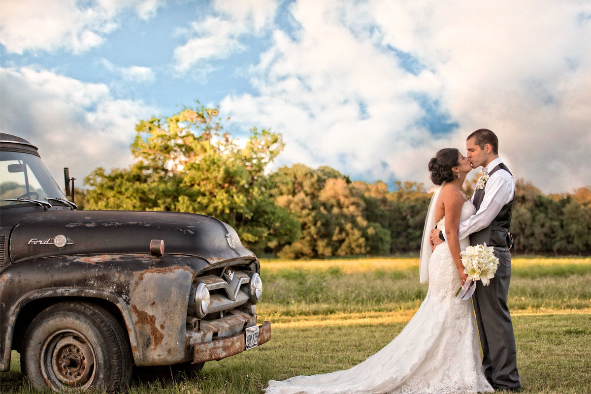 vintage truck wedding field