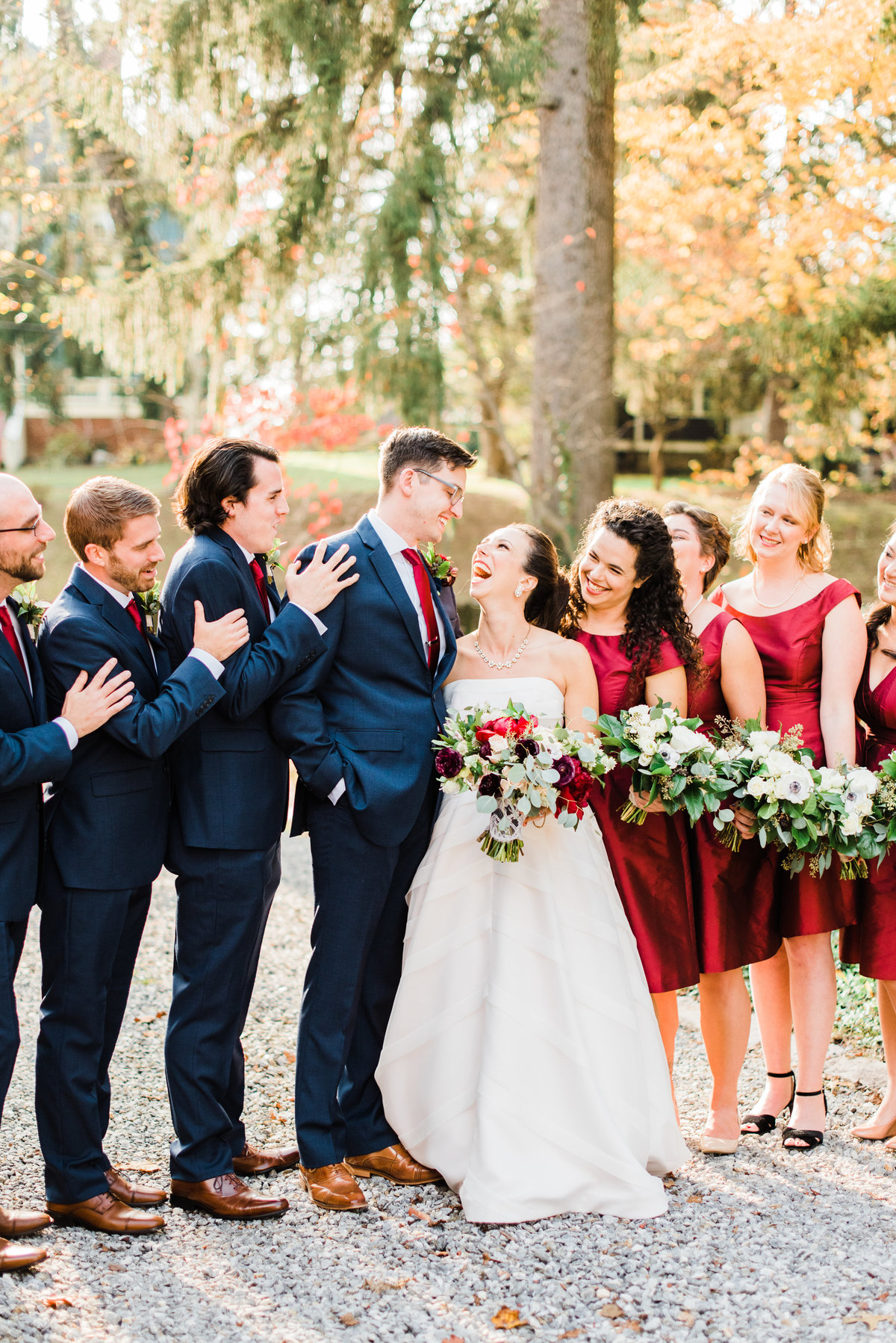 fall wedding party photo