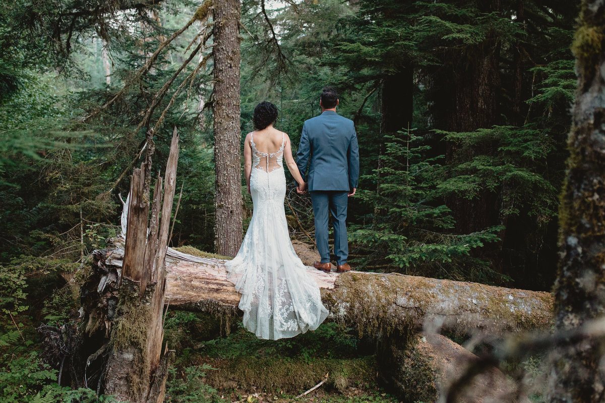 A bride and groom portrait in the woods outside of Seattle Washington