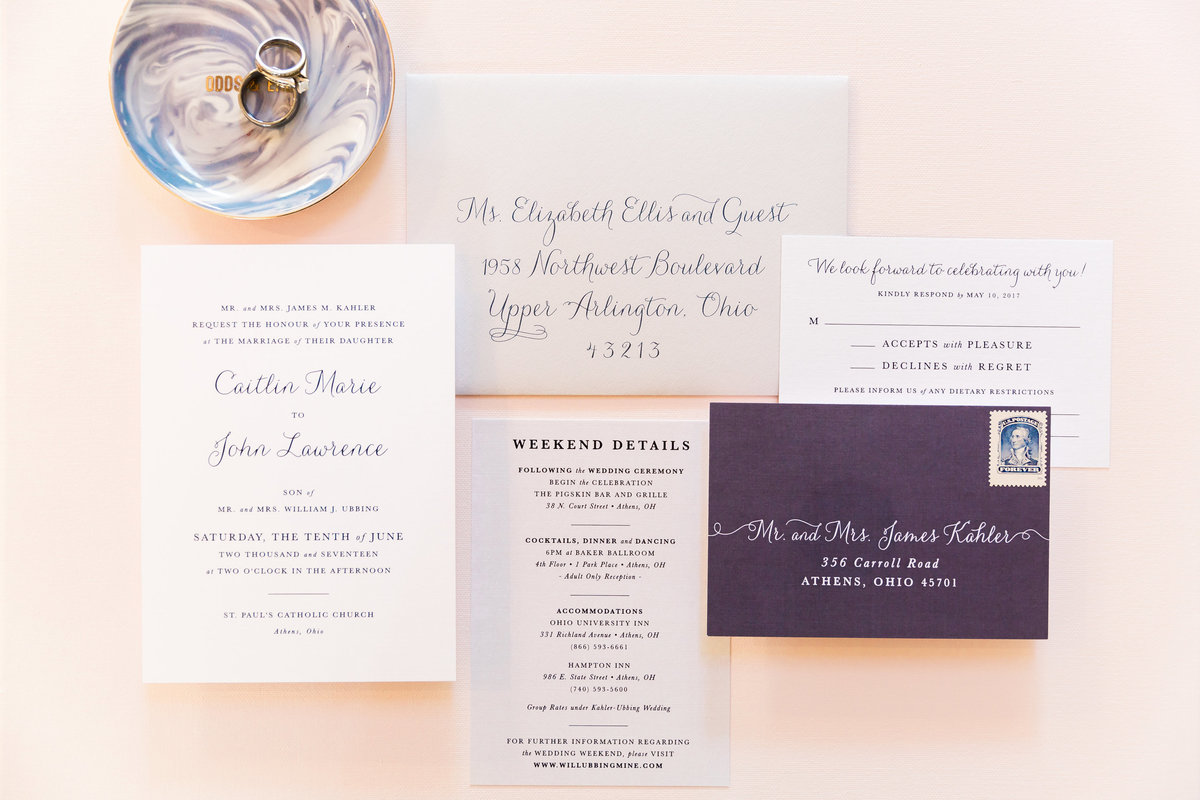 classic navy white wedding invitation