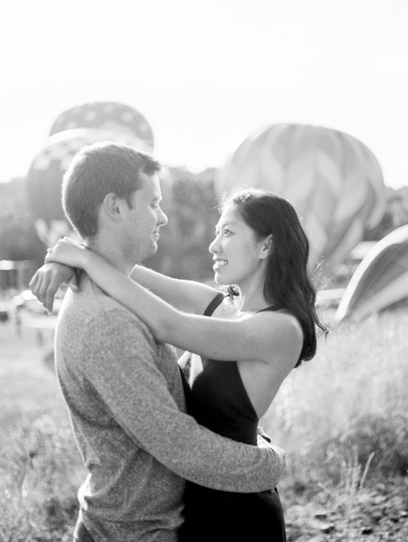 hot air balloon engagement black and white