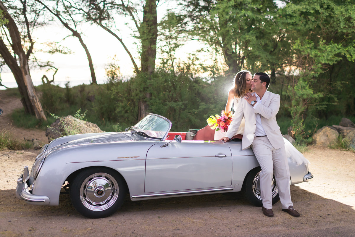 Maui wedding photo with roadster