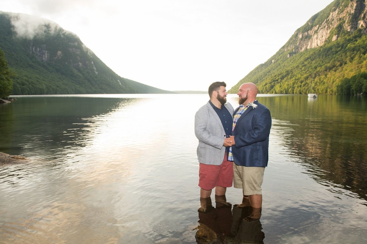Same sex wedding photographer at Vermont by Lake Willoughby elopement 2