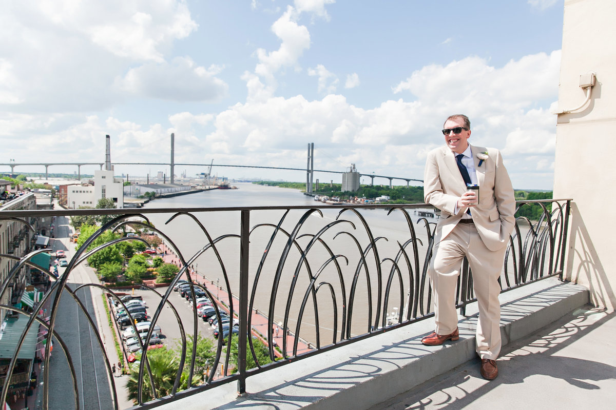 Groom Portrait Talmadge Bridge Savannah Marriott Riverside Wedding