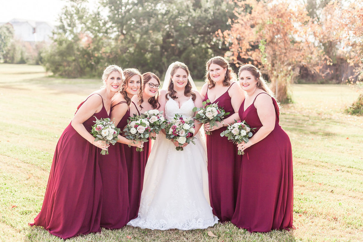 Burgundy bridesmaids dresses | Toni Goodie Photography