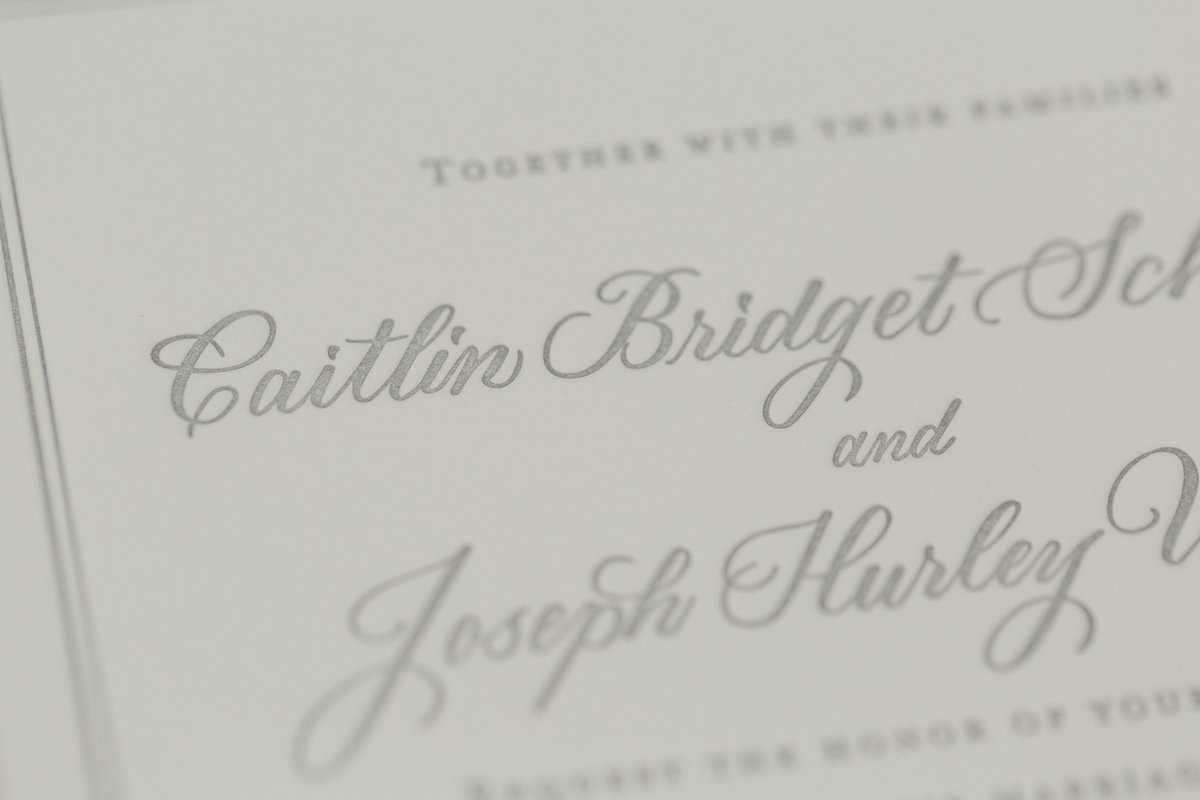 Close up of gray ink custom calligraphy by Lewes Lettering Co