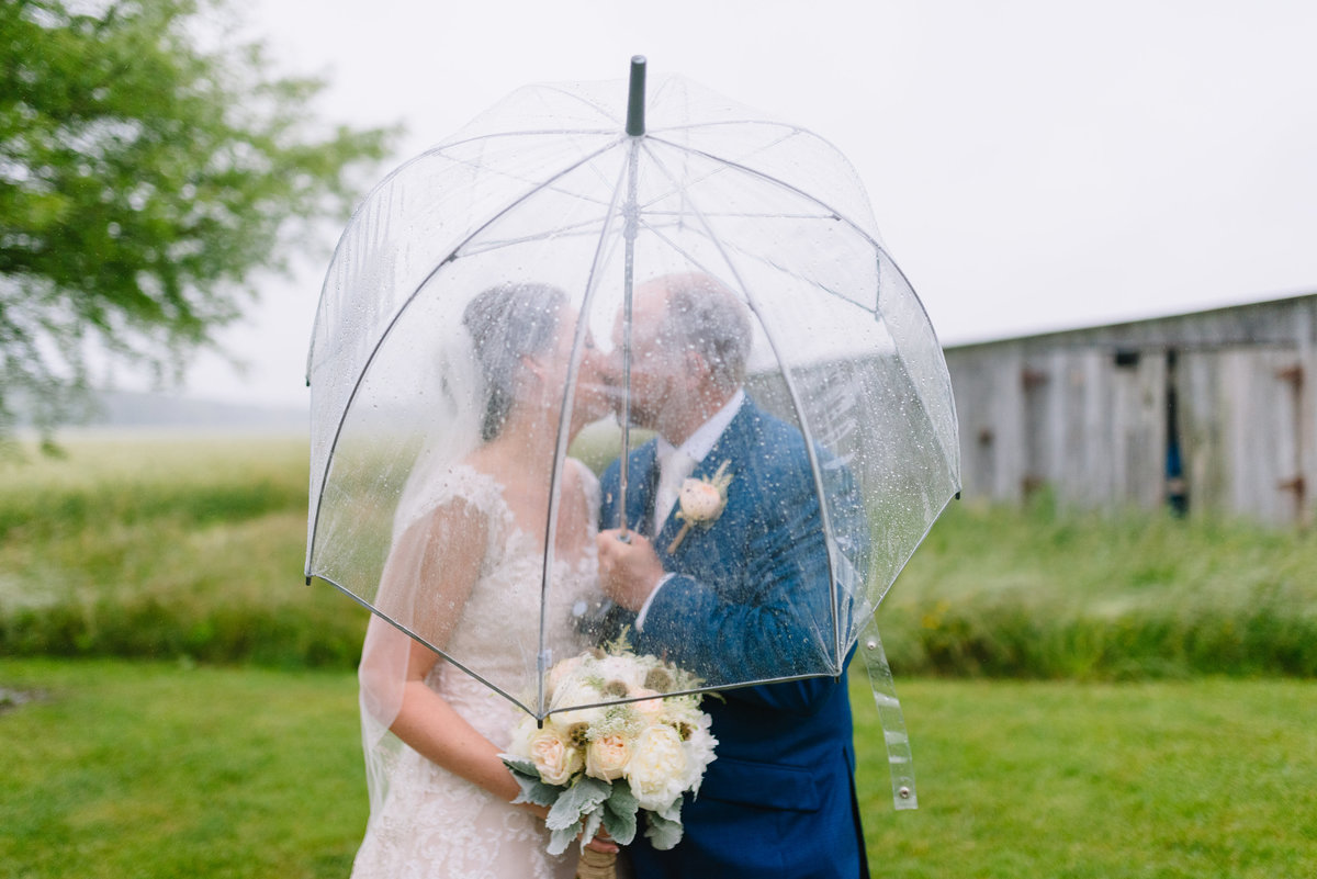 eastern shore cambridge md rainy day wedding couple under umbrella