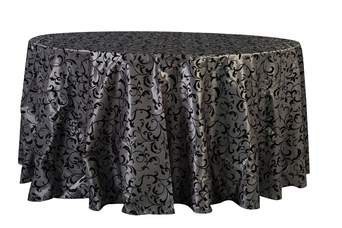 120'' & 132'' Rd Black & Silver Damask Tablecloth