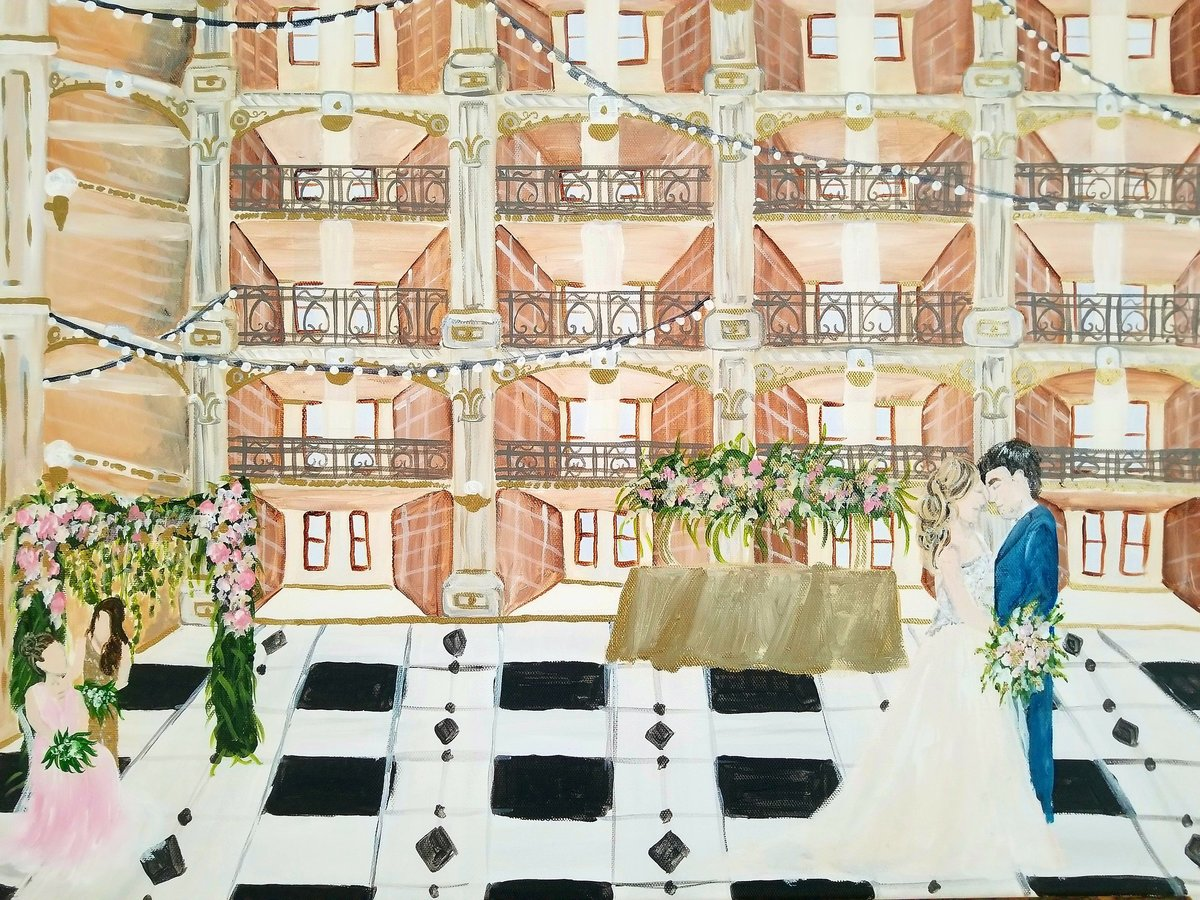 By Brittany Branson Live Wedding Painting George Peabody Library Baltimore
