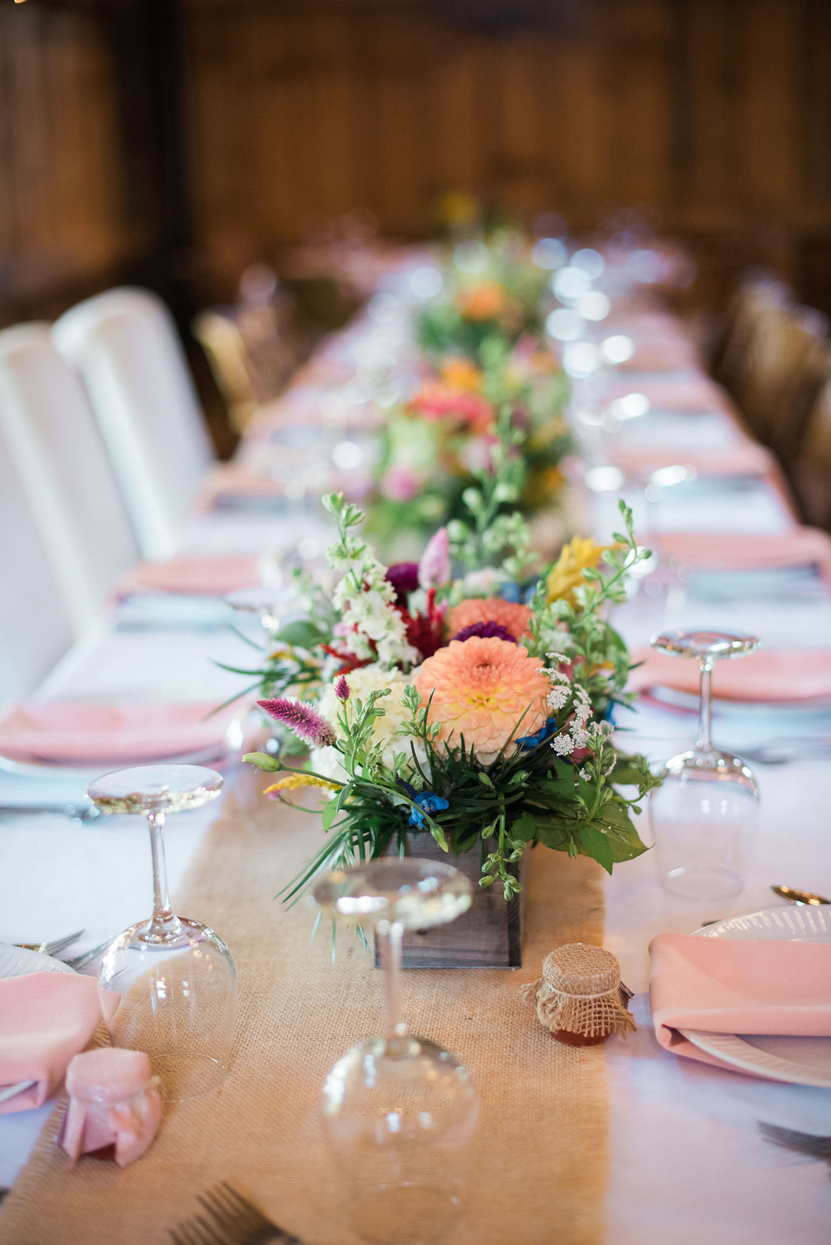 Vermont barn wedding, colorful fall tablescape