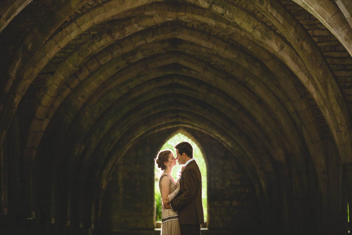 vintage wedding photo of a couple at fountains abbey