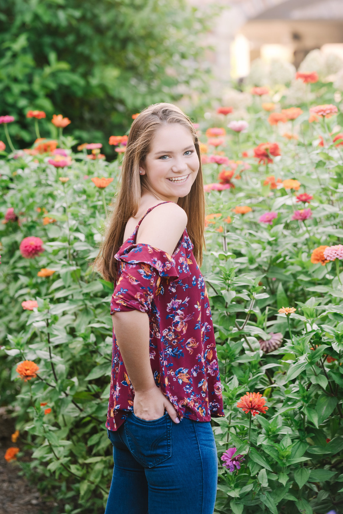 maryland high school senior girl posing in frederick md flowers