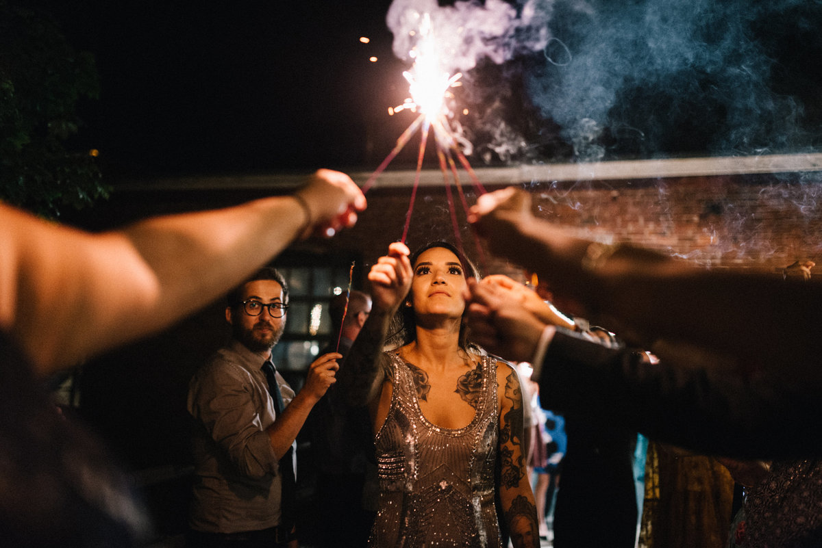 portland maine wedding sparkler exit maine wedding photographer