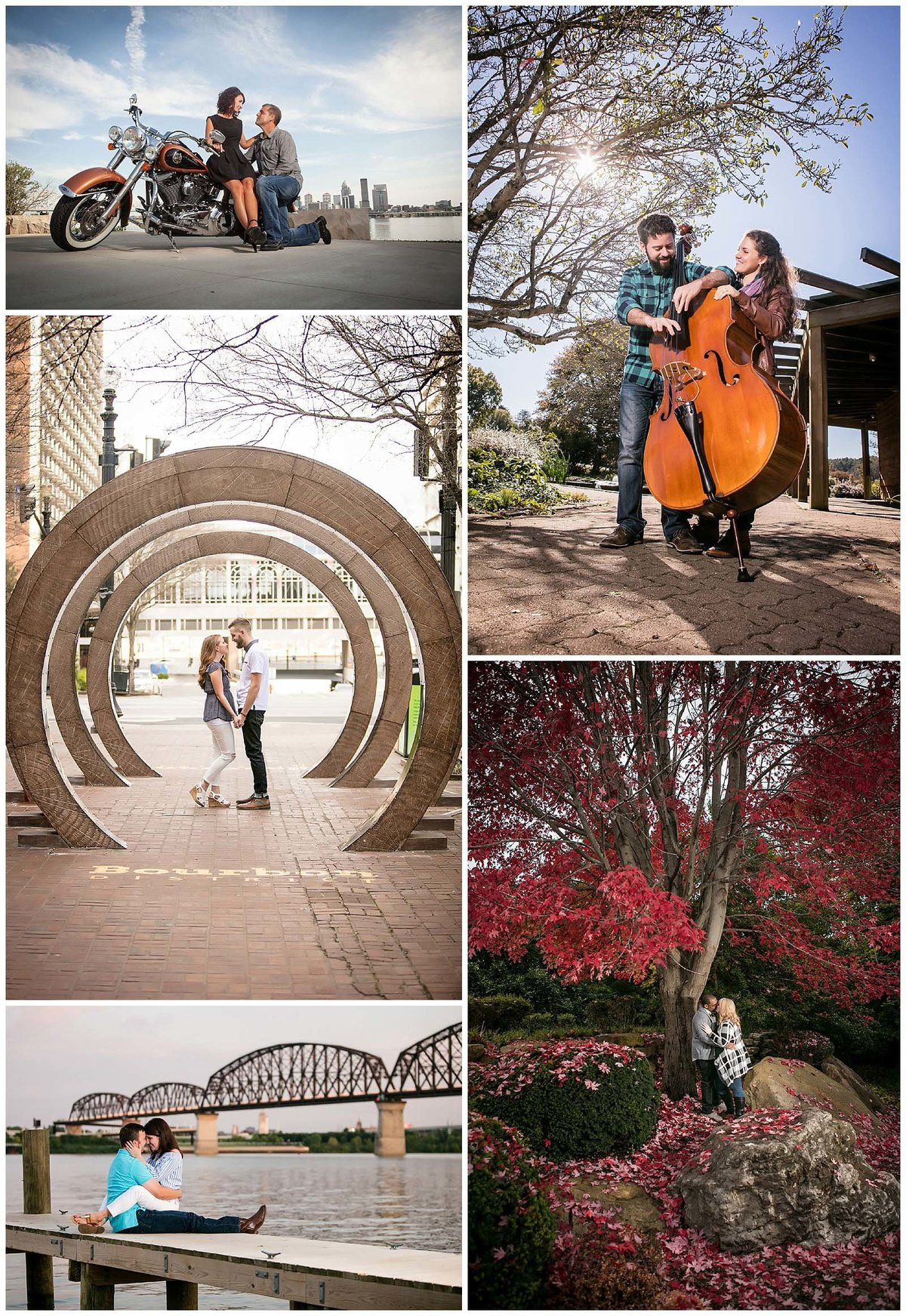 Couples include hobbies during their engagement session.  Motorcycles, Music, Romance, and hometowns.