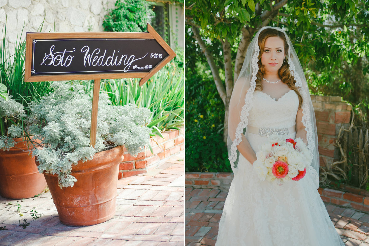 Outdoor portrait of OR bride in cathedral length veil and wedding signage  | Susie Moreno Photography