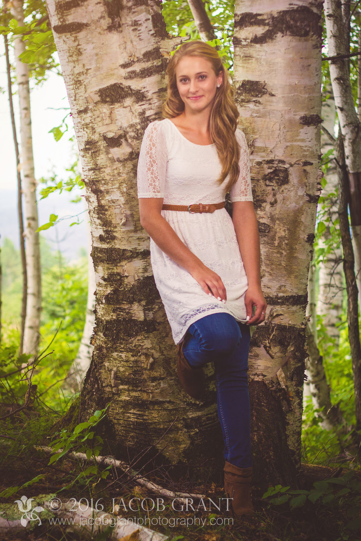Pretty girl in the birch trees by jacob grant maui hawaii photography