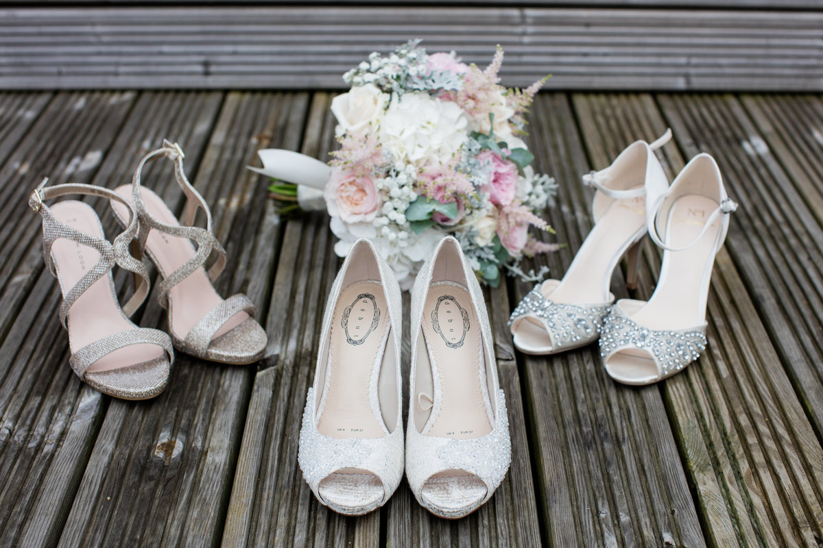 bridal shoes and flowers in torbay