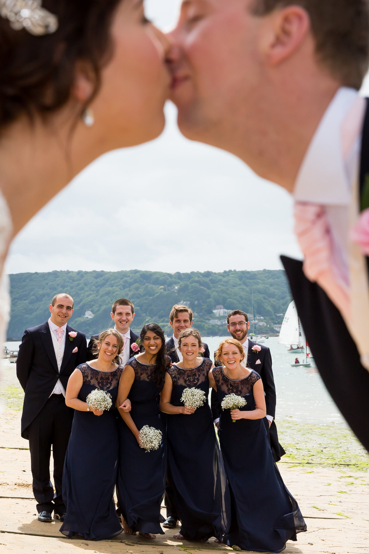 funny wedding photo in salcombe devon