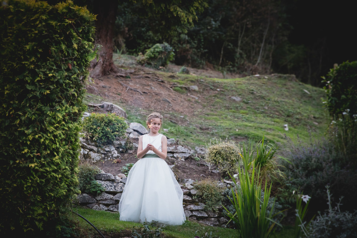 flower girl at bickley mill wedding october