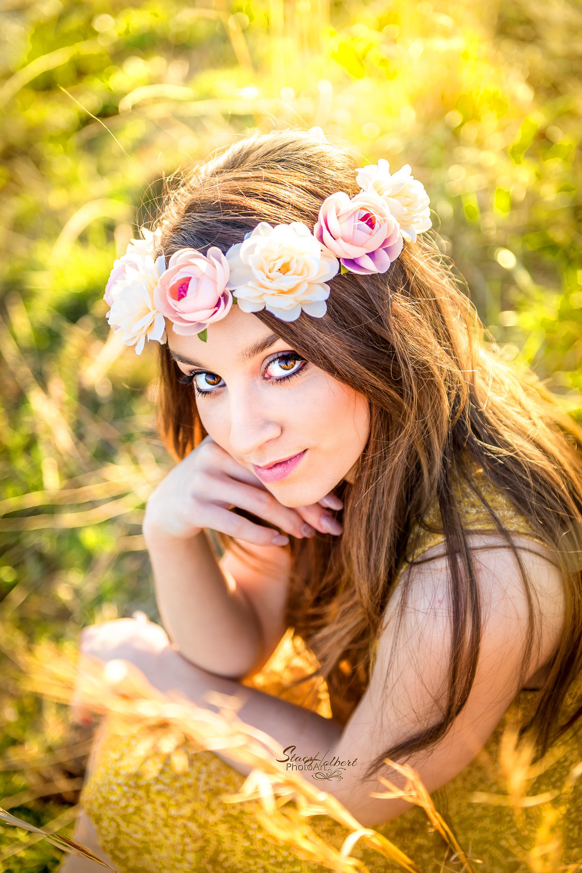 Senior Girl Boho Style Portrait with flower headband. Photo by Stacy Holbert, Booneville AR