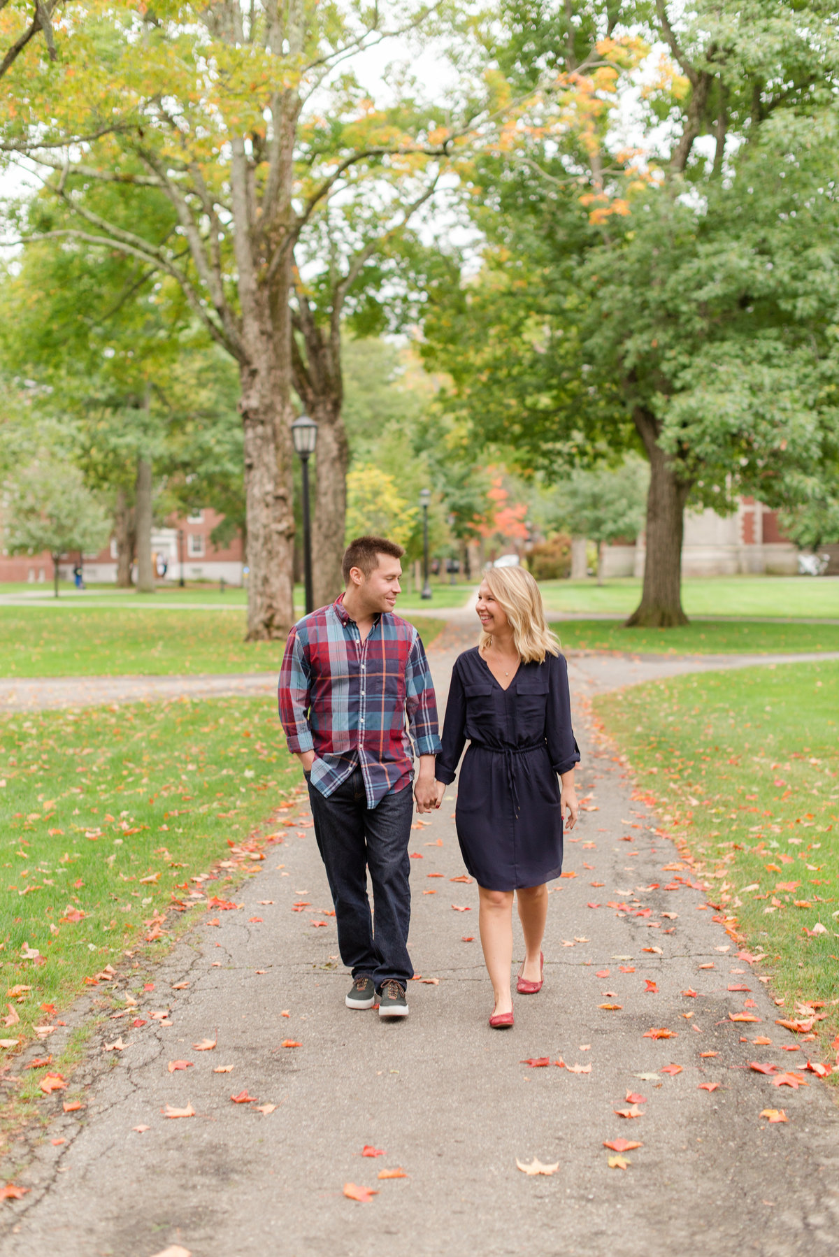 bowdoin campus engagement photos