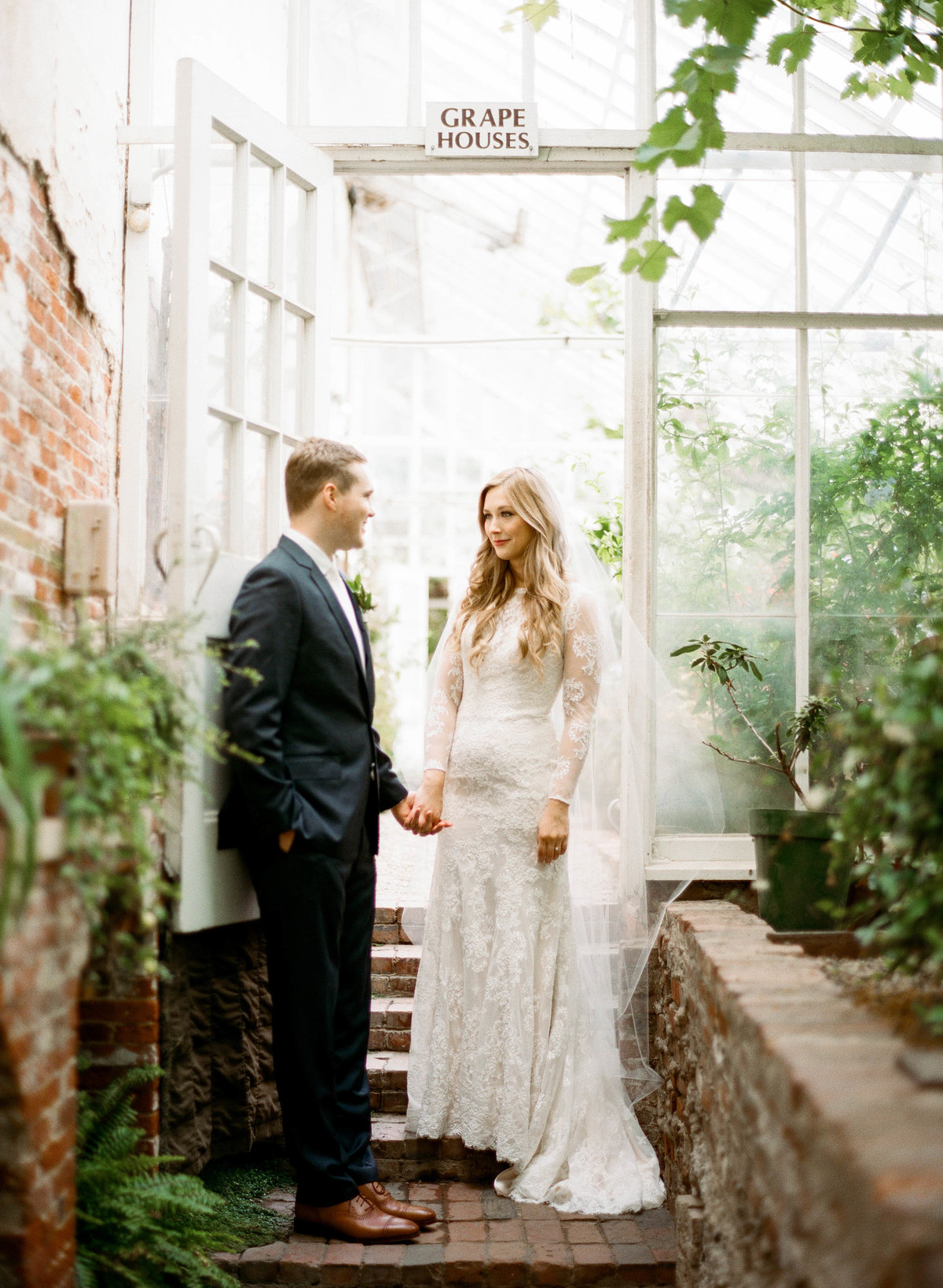 lyman estate bride and groom in greenhouse wedding