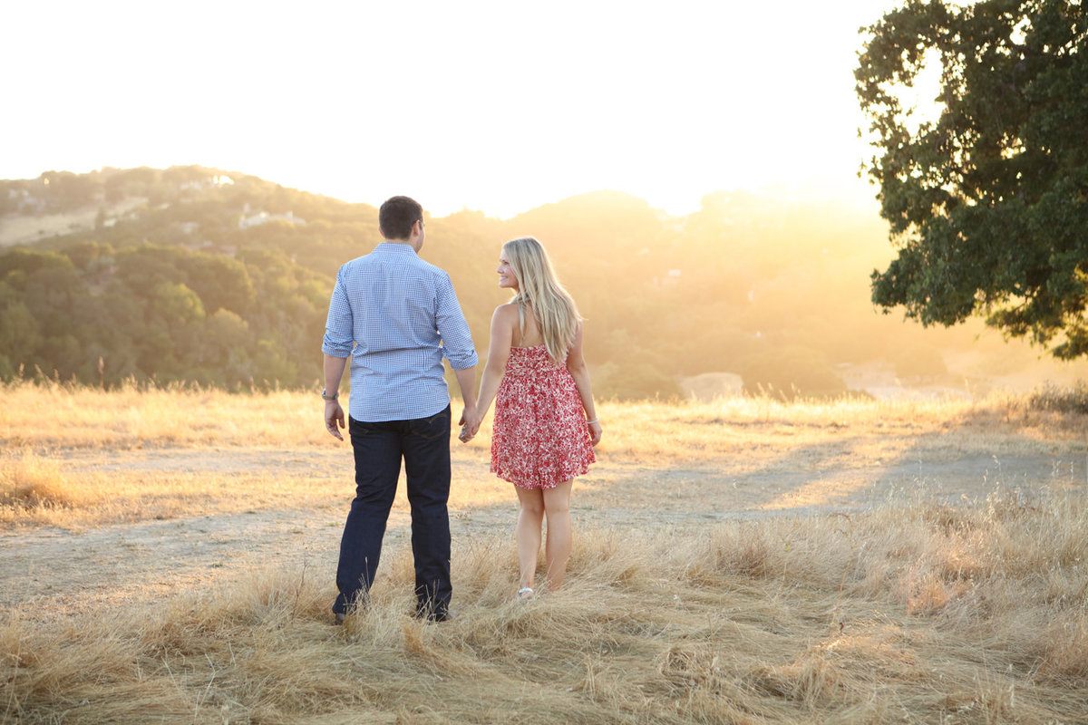 Sunny portraits of bride and groom to be; engagmeent photoshoot northern california