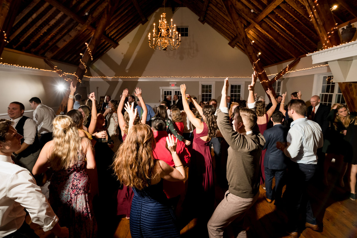 dancing during reception in barn