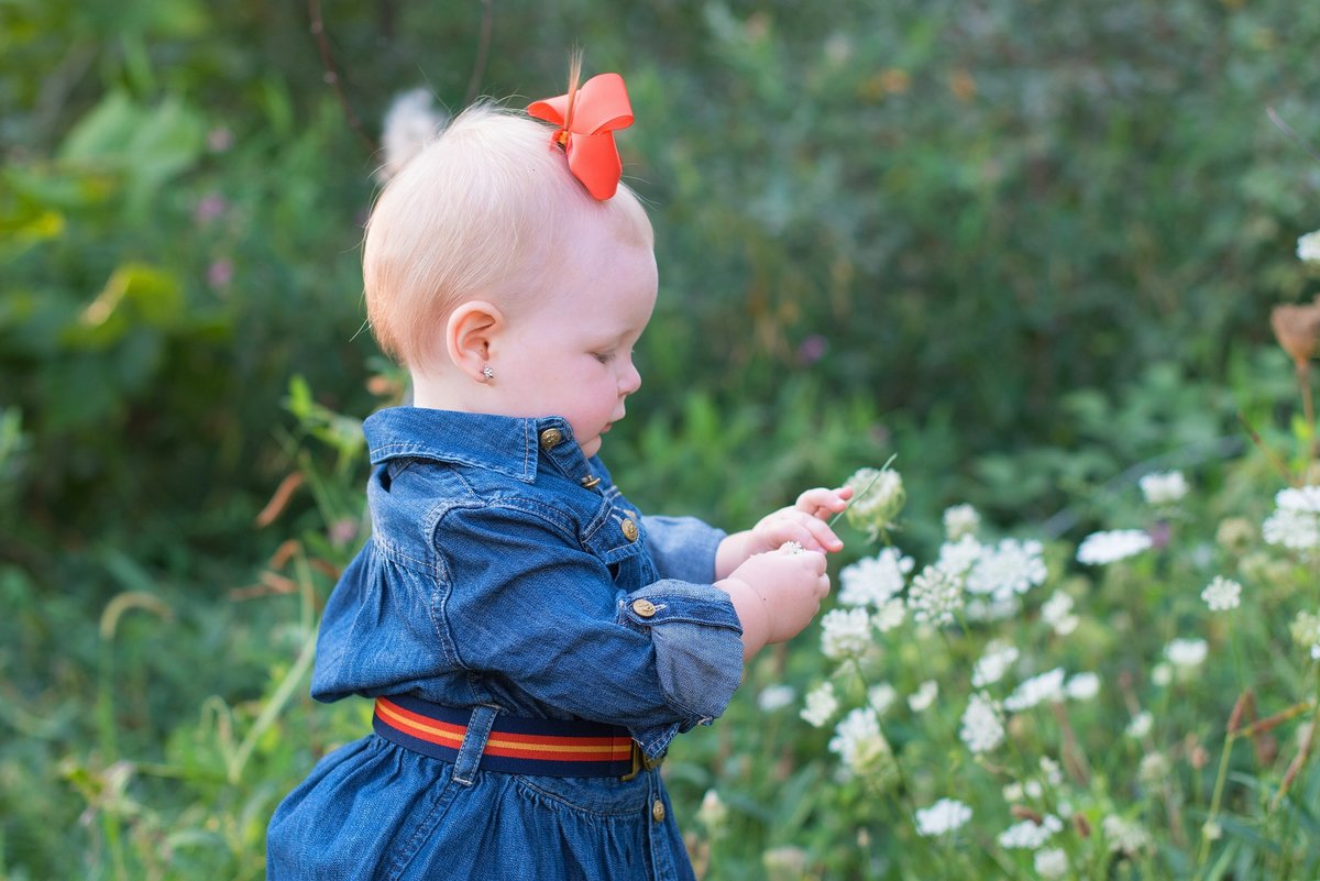 One Year old baby girl picking wild flowers in the country with blue jean dress and red bow photo