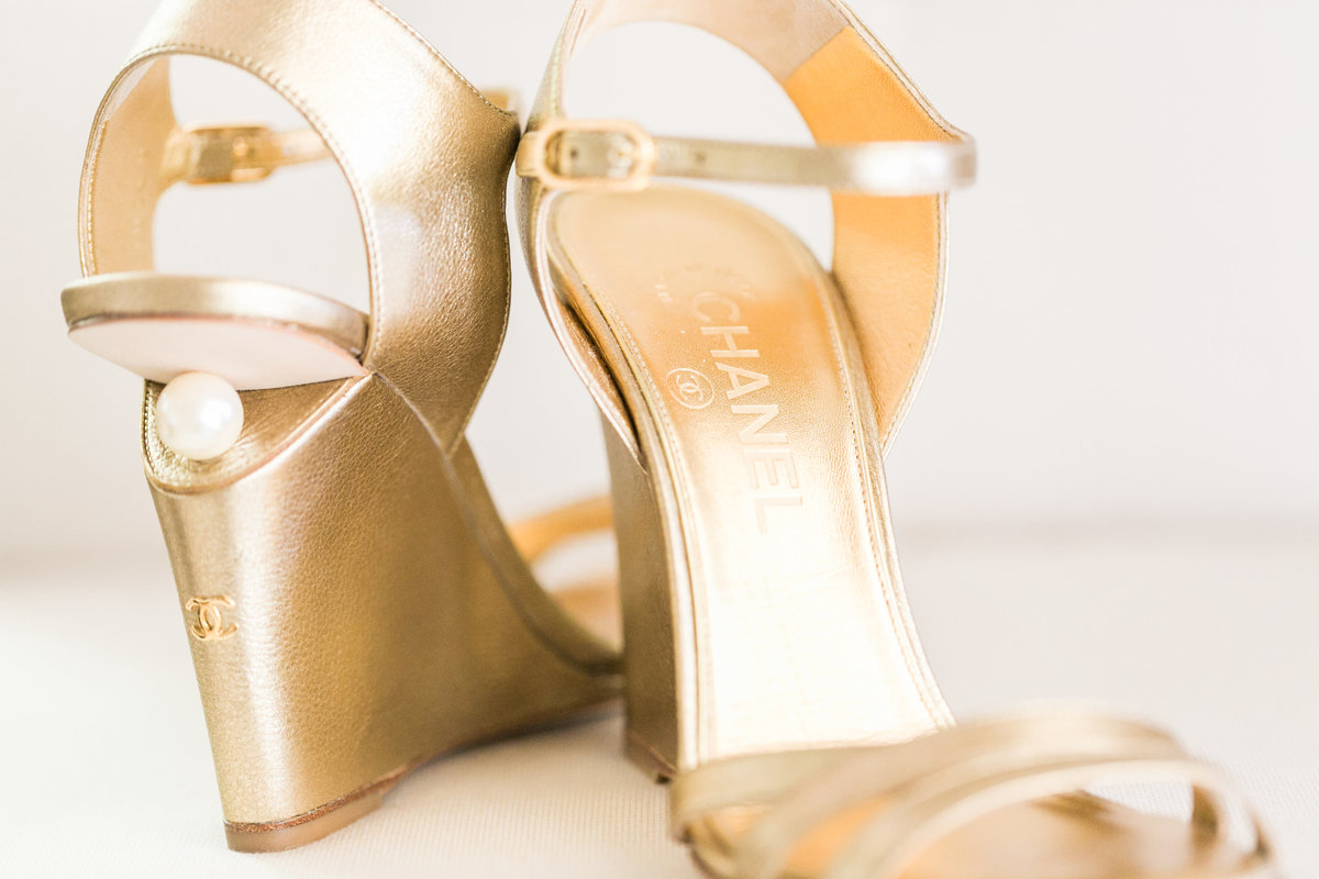 Chanel wedge shoes for outdoor grass wedding, gold with pearl on backside