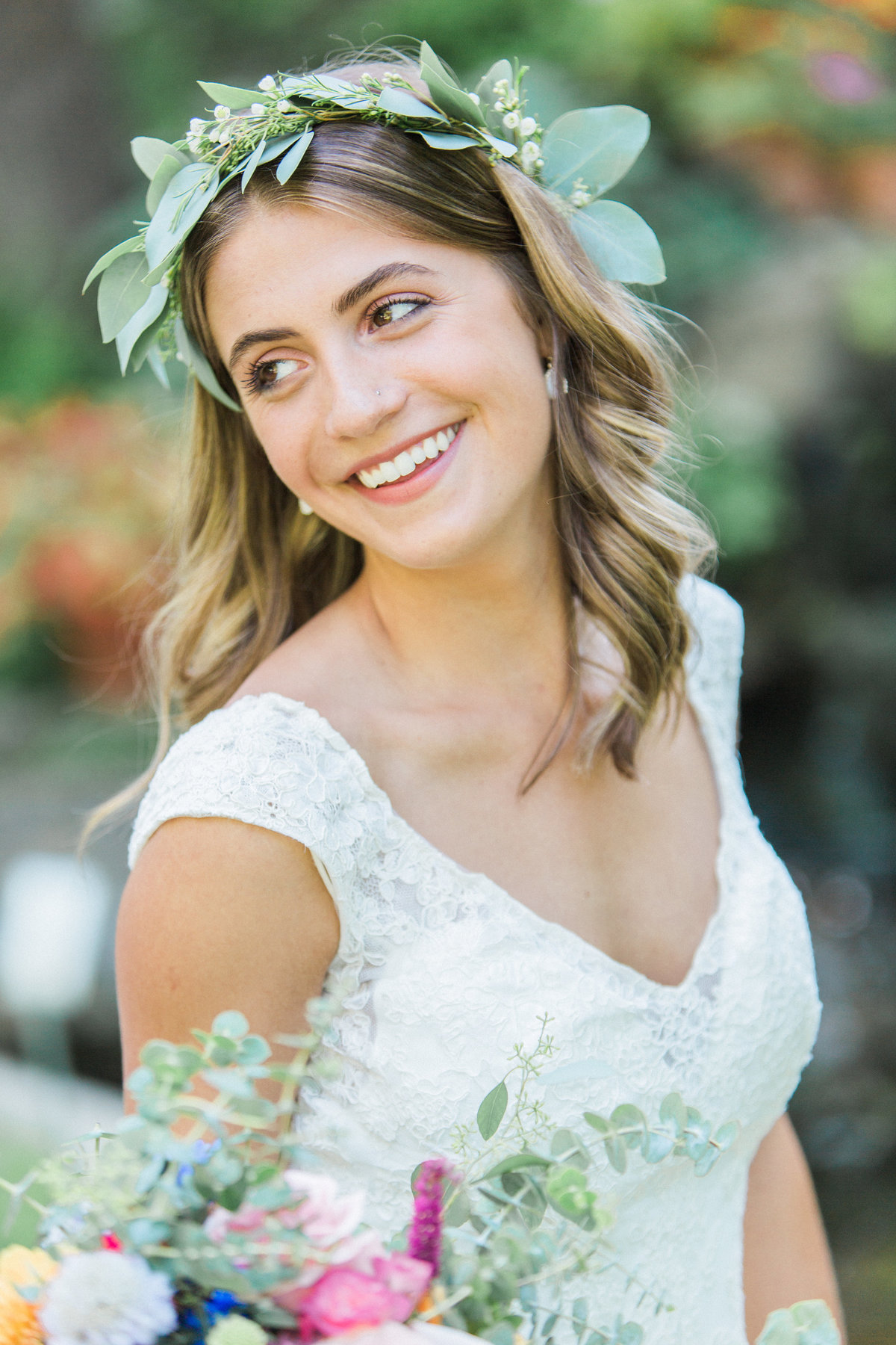 Charley Creek Gardens Wedding Bride Smiling Photo