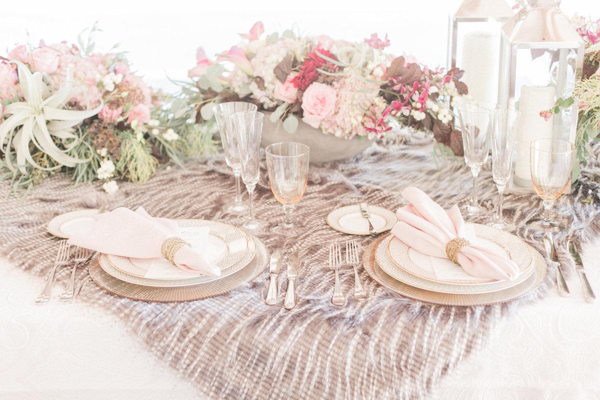 Faux Fur Rustic Luxe Table Setting