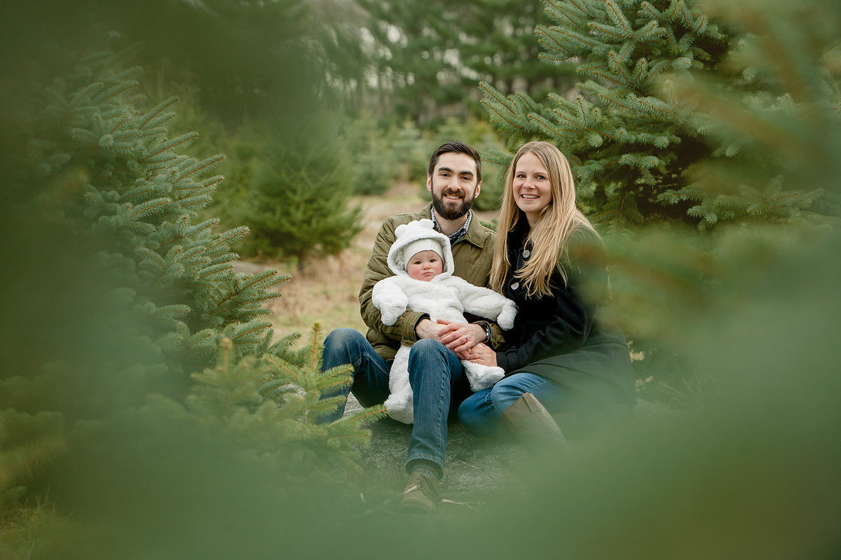 winter family portrait at a tree farm by Hudson Valley NY professional photographer