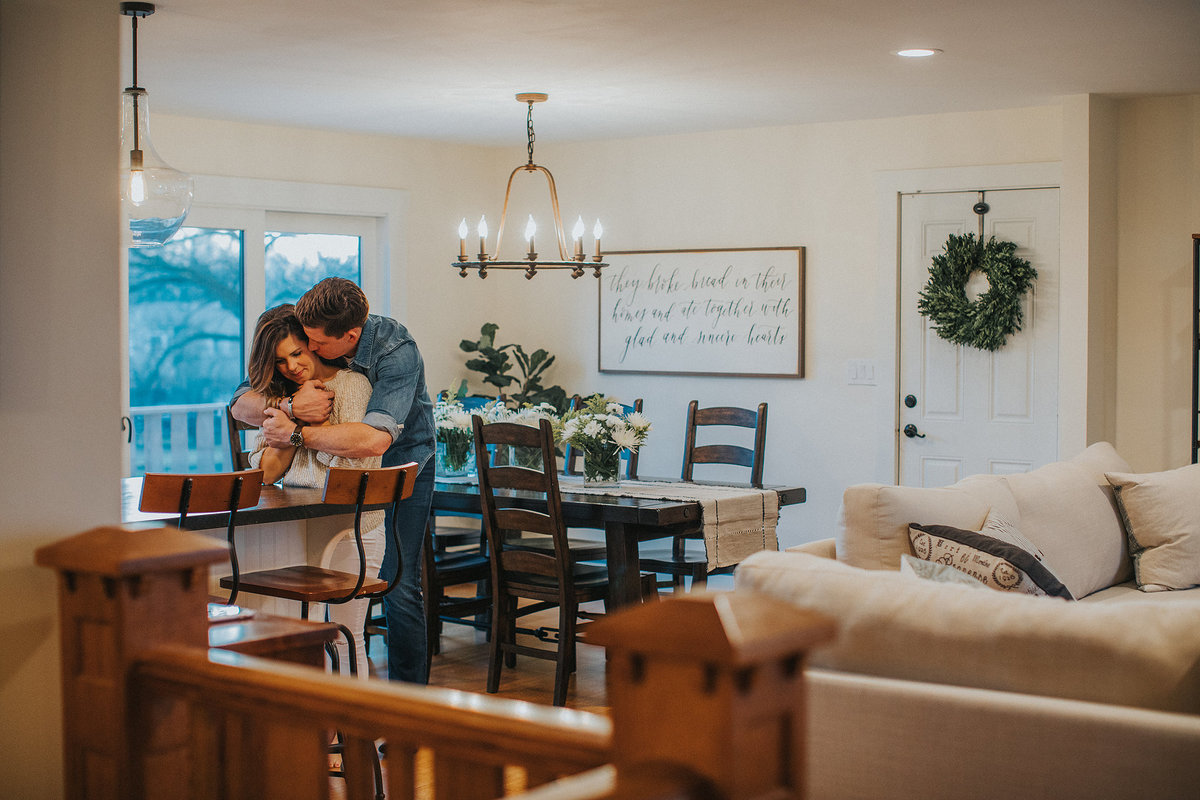 couple chose to do their engagement photographs in their own home in illinois