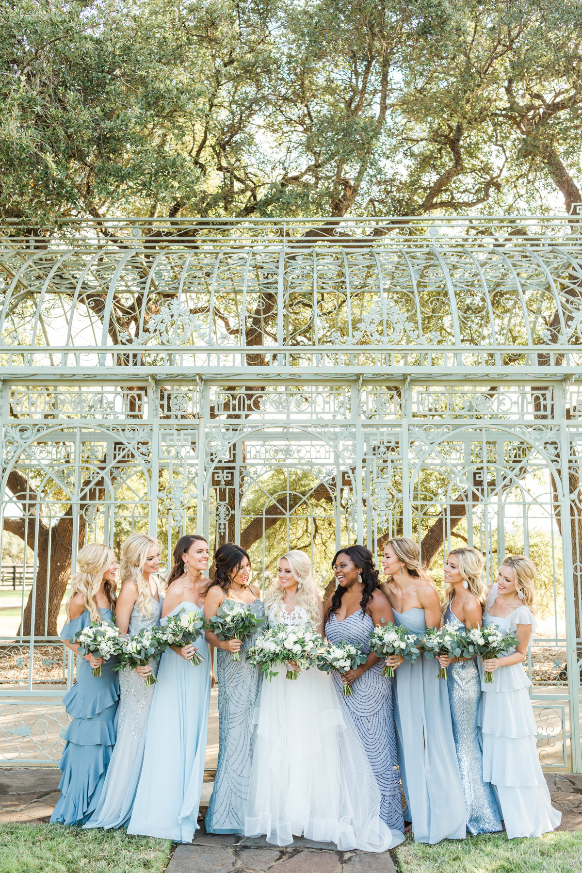 ma maison dripping springs wedding mismatched light blue bridesmaids dresses