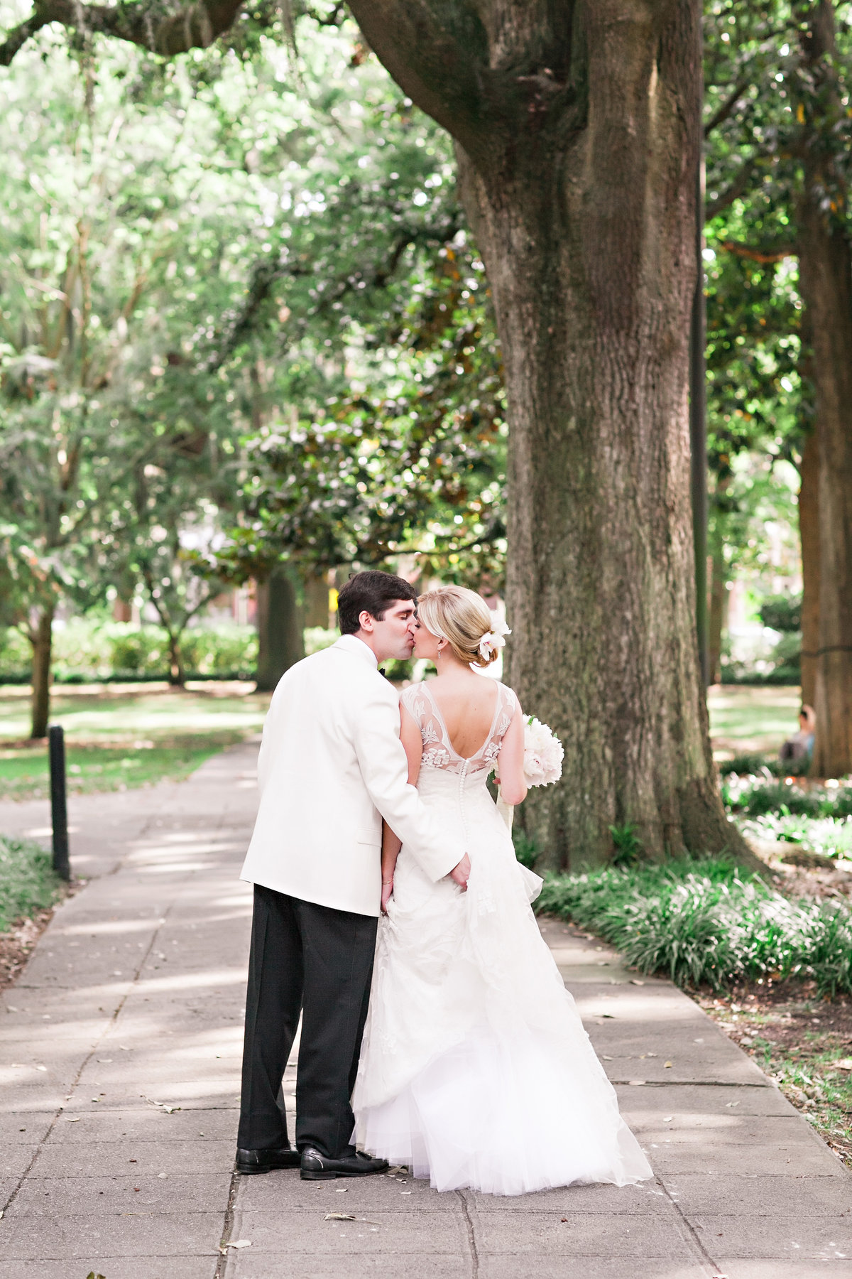 Savannah Bride Groom Forsyth Park Mansion Classic Traditional Catholic Garden Wedding Dress Bouquet Kiss Romantic