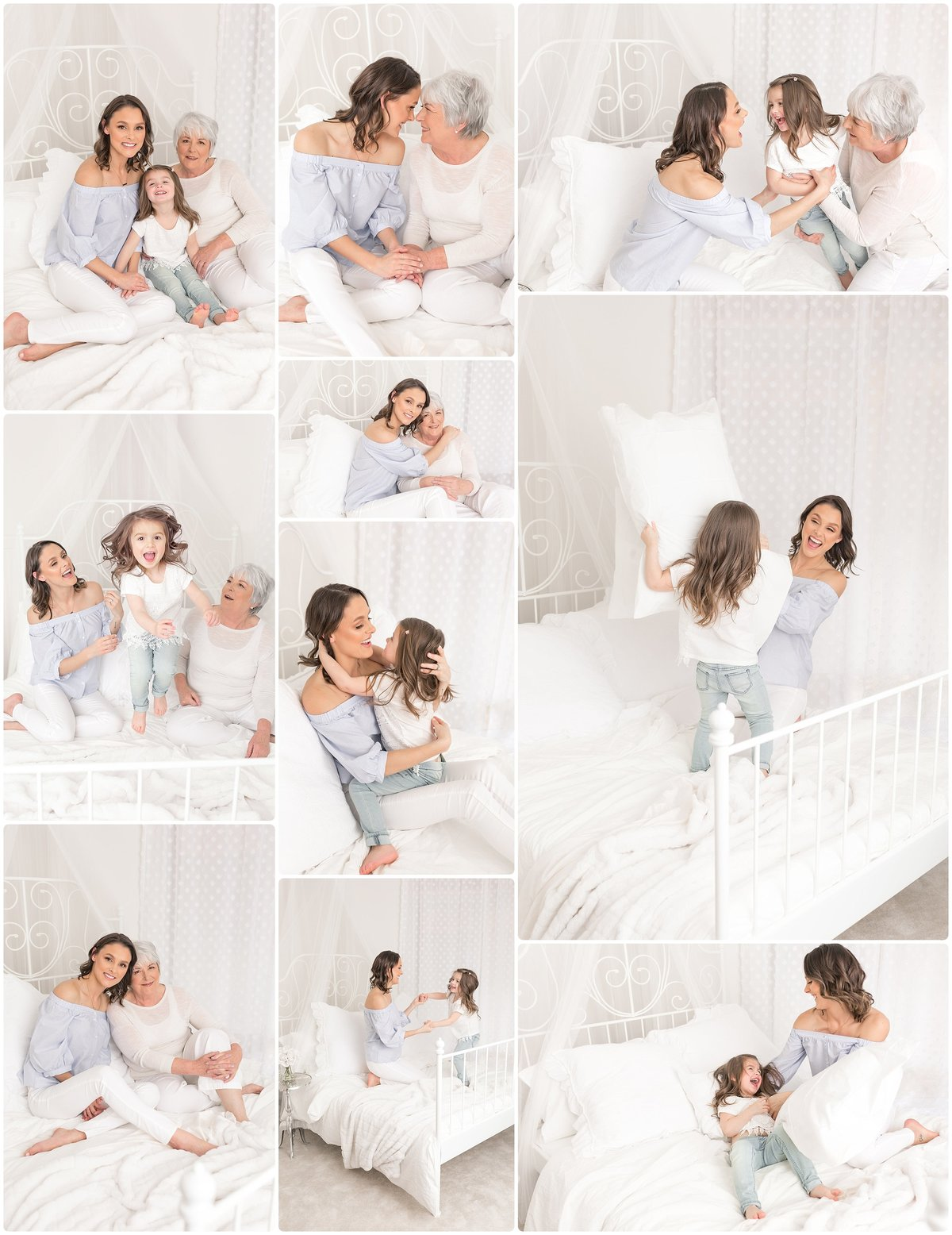 mom and daughter snuggling on white bed