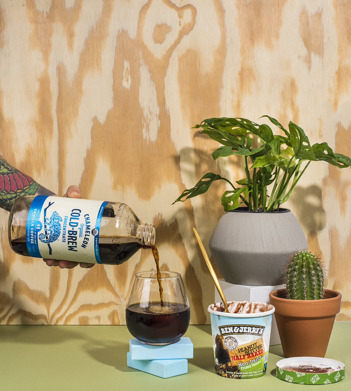 chameleon cold brew ben and jerrys ice cream still life