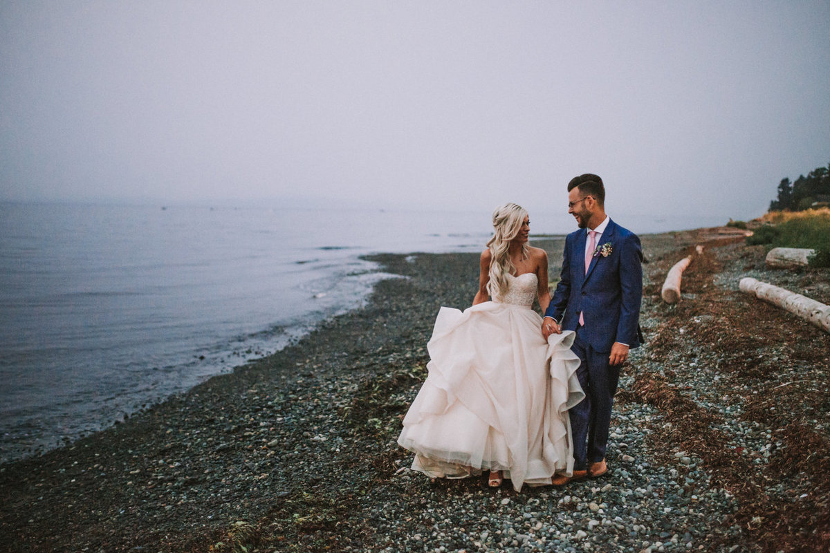 Vancouver Island BC Wedding Photo Bride Groom Poofy Dress Smoky Wedding