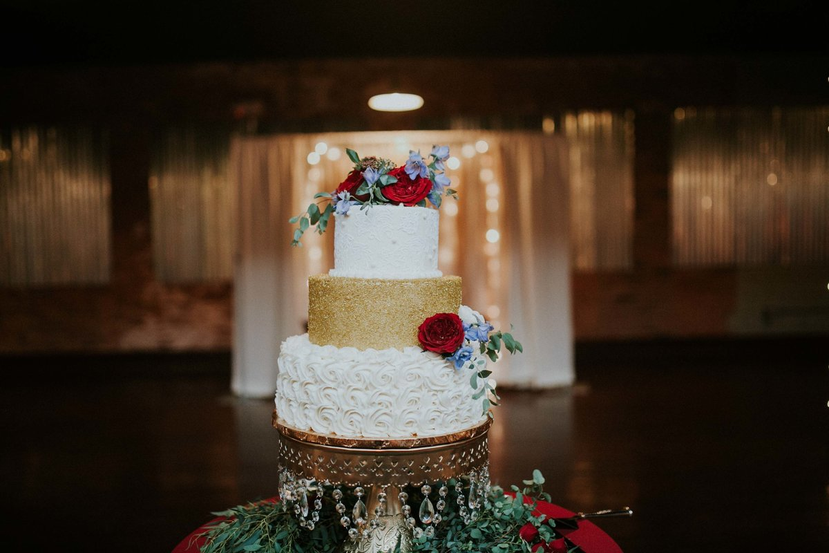 Wedding Cake by Simply Perfections sits in the middle of Factory 12 Event Loft in Columbus Indiana