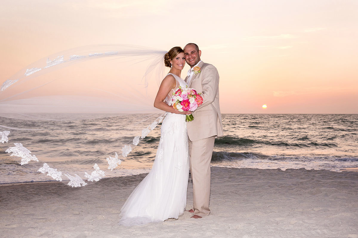 ritz carlton naples florida sunset wedding veil flying