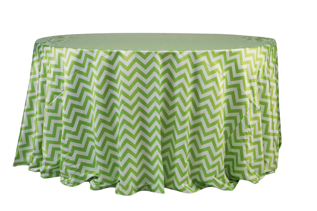 132'' Lime Green Chevron Matte Satin Tablecloth