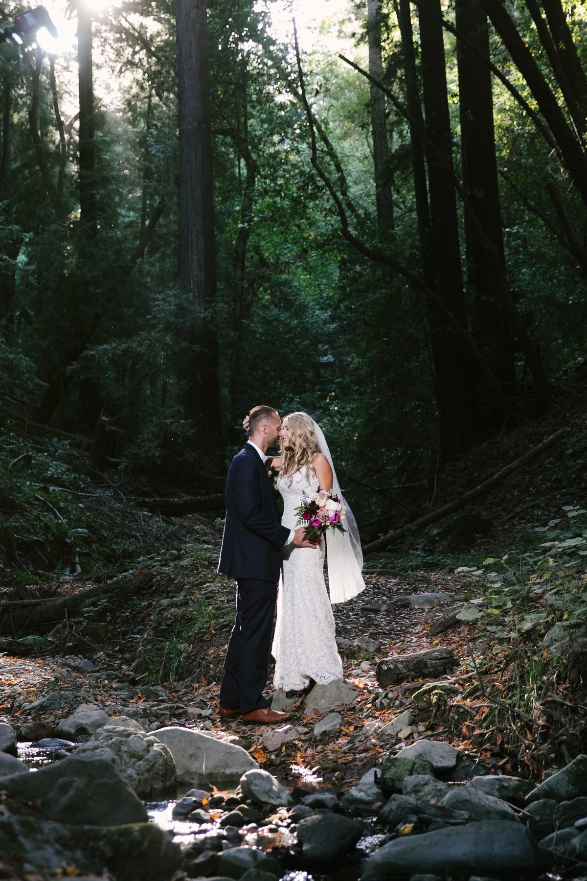 boho bride and groom in forest Bay Area, CA