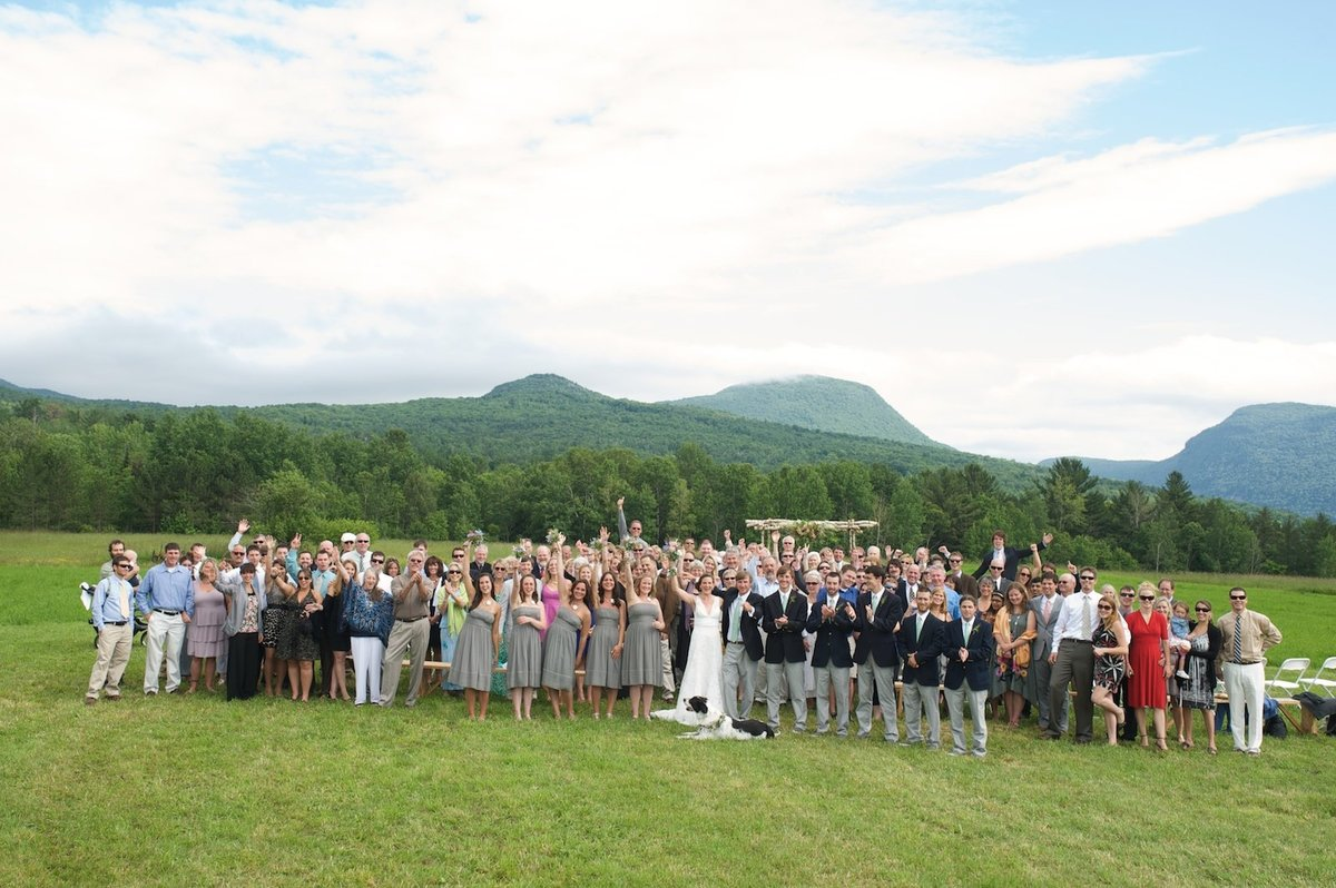 photo of all the wedding guests at Lake Willoughby
