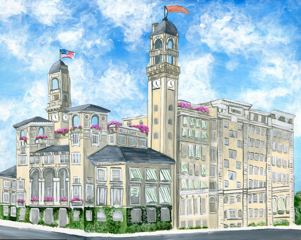 Custom wedding venue painting featuring The Jefferson Hotel in Virginia