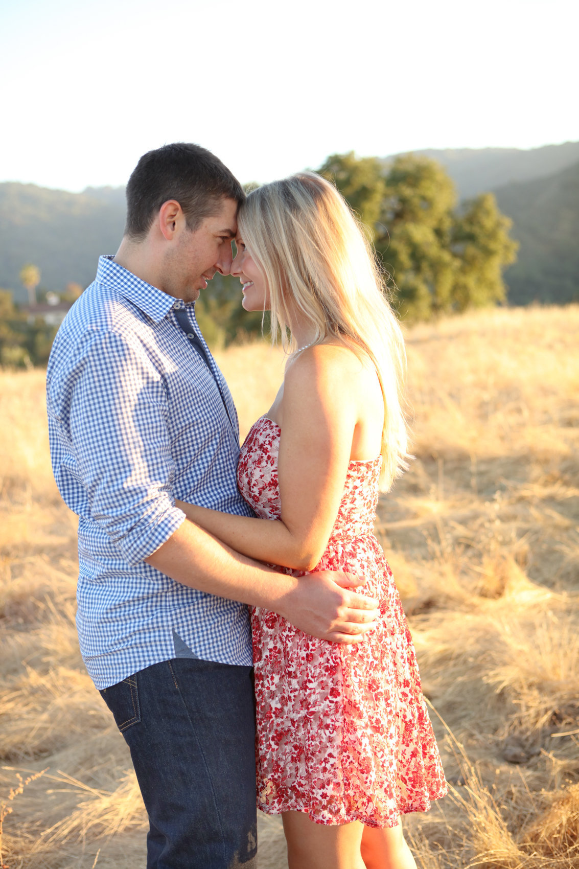 Young couple engagement portraits los altos california golden hour
