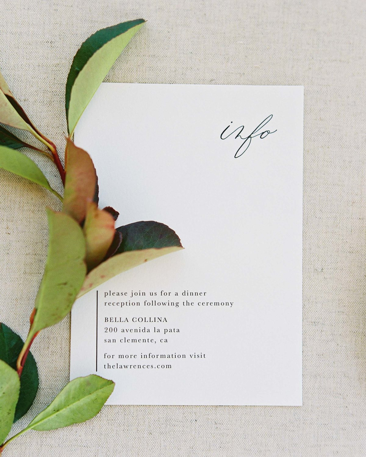Plume & Fete minimal and organic wedding invitation suite response card